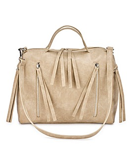 Zip Detail Mink Bowler Bag
