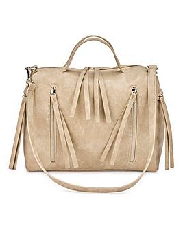 Zip Detail Mink Bowler Bag
