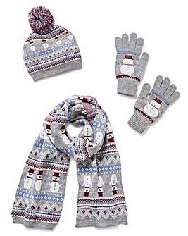 Snowman Hat, Scarf & Mittens Set