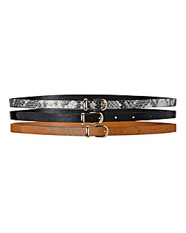 Pack Of 3 Skinny Belts