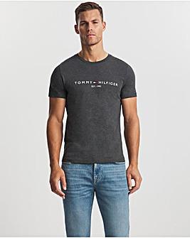 Tommy Hilfiger Dark Grey Heather Short Sleeve Logo T-Shirt