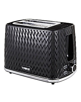 Tower Herringbone Black 2 Slice Toaster
