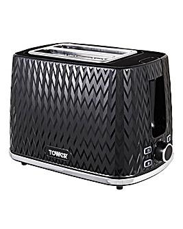 Tower Herringbone Black 2 Slice Toaster