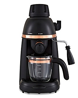 Tower Cavaletto 4 Cup Black and Rose Gold Espresso Coffee Machine