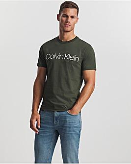 Calvin Klein Dark Olive Cotton Front Logo T-Shirt