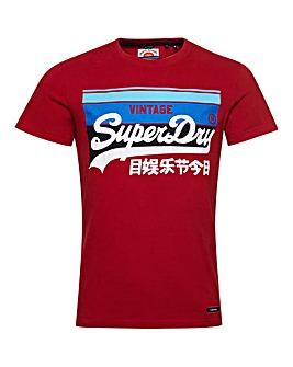 Superdry Vintage Label Short Sleeve Cali Stripe Logo T-Shirt