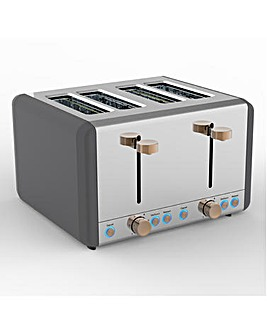 Tower Cavaletto Grey and Rose Gold 4 Slice Toaster