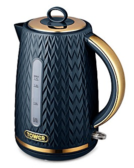 Tower Empire 3kW 1.7Litre Jug Midnight Blue and Brass Kettle