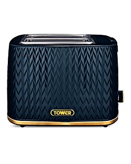 Tower Empire Midnight Blue and Brass 2 Slice Toaster