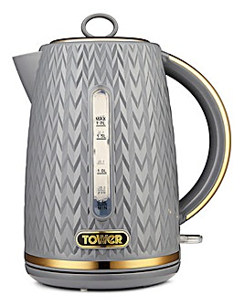 Tower Empire 3kW 1.7Litre Jug Grey and Brass Kettle
