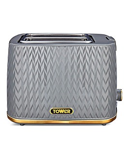 Tower Empire Grey and Brass 2 Slice Toaster