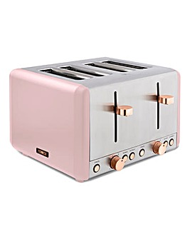 Tower Cavaletto Pink and Rose Gold 4 Slice Toaster