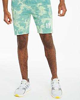 11 Degrees Teal Blue Fog Green Tie Dye Sweat Shorts