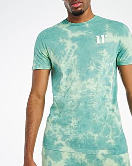 11 Degrees Teal Blue Fog Green Tie Dye Short Sleeve T-Shirt