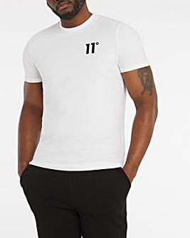11 Degrees White Roll Sleeve Applique T-Shirt