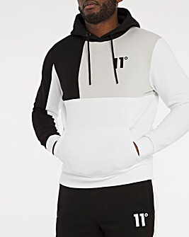 11 Degrees Black Grey White Boxy Block Hoodie