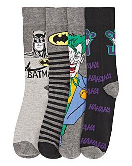 Batman & Joker 4 Pack Socks
