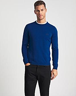 BOSS Bright Blue Tipped Crewneck Knit Jumper