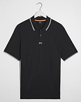 BOSS Black Short Sleeve Tipped Collar Polo