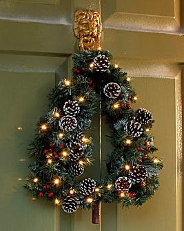 Tree Shaped Wreath with 30 LED Lights