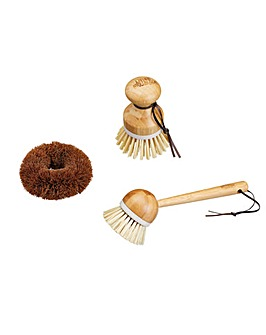 KitchenCraft Bamboo / Coconut Brush Set