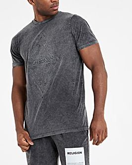 Religion Gunmetal Short Sleeve Embossed Acid Wash T-Shirt Long