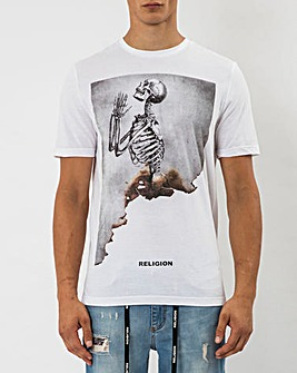 Religion White Short Sleeve Burned Skull T-Shirt Long