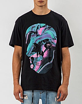 Religion Black Short Sleeve Painted Skull T-Shirt Long