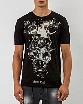Religion Black Short Sleeve Stag T-Shirt Long