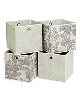 Set of 4 Squares Boxes - Grey & Floral