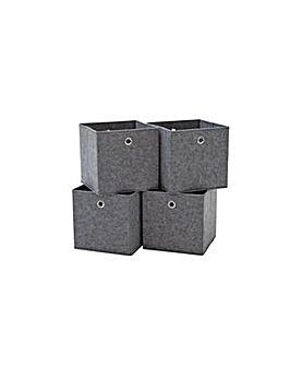Set of 4 Felt Squares Boxes - Grey