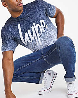 Hype Navy Speckle Fade Short Sleeve T-Shirt Long