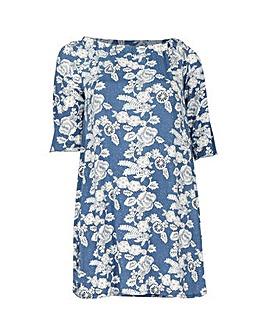 Blue Vanilla Curve Bardot Tunic Dress