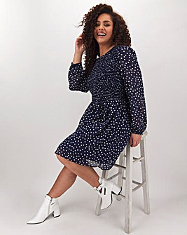 Navy Chiffon Spot Shirred Skater Dress
