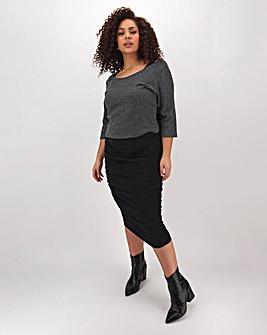 Super Soft Black Ruched Dress And Charcoal Top
