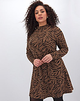 Super Soft Tiger High Neck Swing Dress