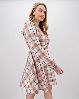 Check Milkmaid Skater Dress