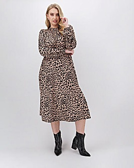 Animal Print Long Sleeve Midi Dress