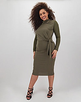 Khaki Knot Front Midi Dress