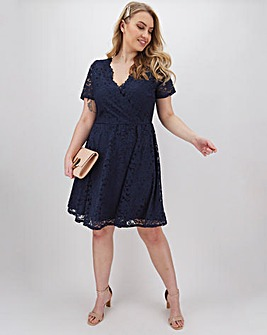 Navy Lace Wrap Skater