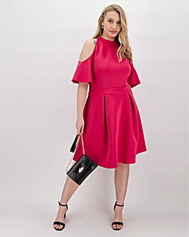 Magenta Cold Shoulder Scuba Skater Dress