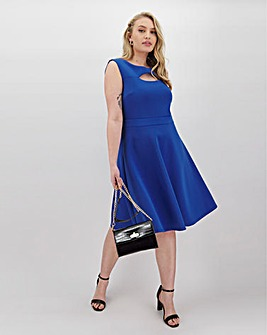 Cobalt Front Slit Scuba Skater Dress