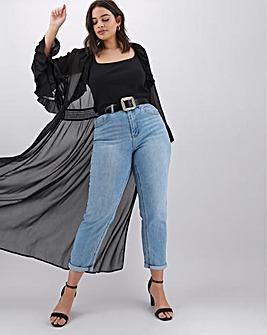 Black Ruffle Front Kimono