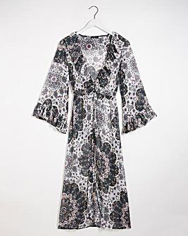 Printed Ruffle Front Kimono