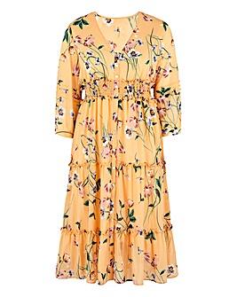 Ivory Print Button Front Midi Dress