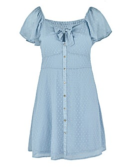 Powder Blue Knot Dobby Skater Dress