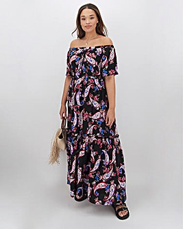 Paisley Crinkle Square Neck Maxi Dress