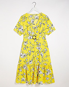 Floral Print Button Through Midaxi Dress