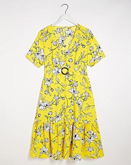Floral Print Button Through Midaxi Dress