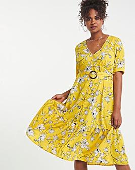 Floral Print Button Through Midi Dress